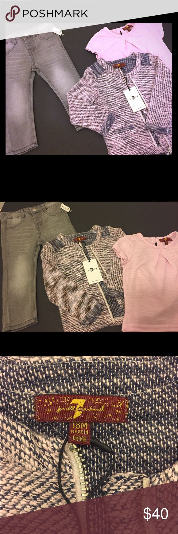 7 For All Mankind Toddler Girls 3 Piece Suit🎉sale Gorgeous 3 piece suit!!! Gray jeans with pink short sleeve shirt and gray and pink zipper cardigan sweater. 7 For All Mankind Matching Sets
