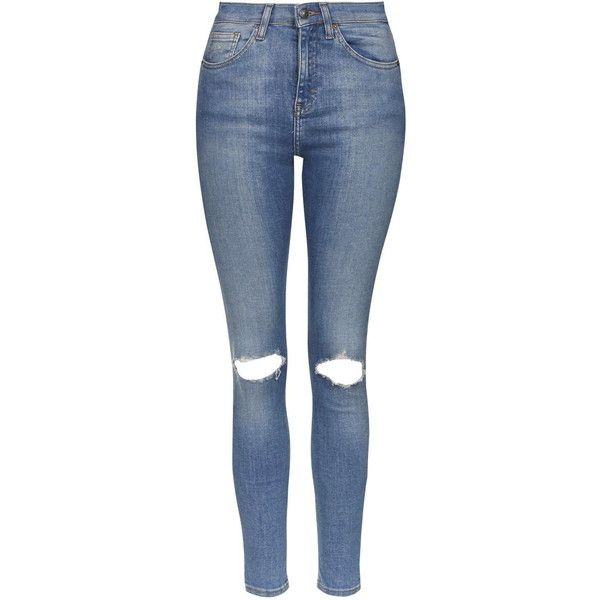 TOPSHOP MOTO Cain Premium Skinny Jeans ($68) ❤ liked on Polyvore featuring jeans, pants, bottoms, ripped jeans, trousers, blue, distressed jeans, blue jeans, denim skinny jeans and high waisted distressed skinny jeans