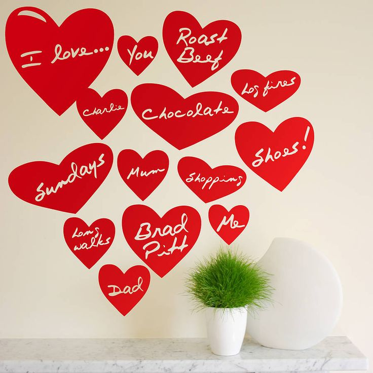 personalised love heart wall stickers by the bright blue pig | notonthehighstreet.com