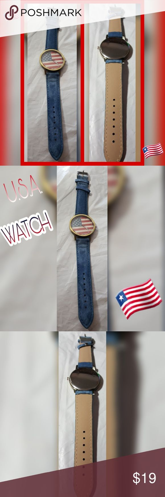 USA FLAG FACE WATCH USA FLAG FACE WATCH DENIM-LIKE STRAP FLAG FACE IT WORKS!!! NWOT Accessories Watches