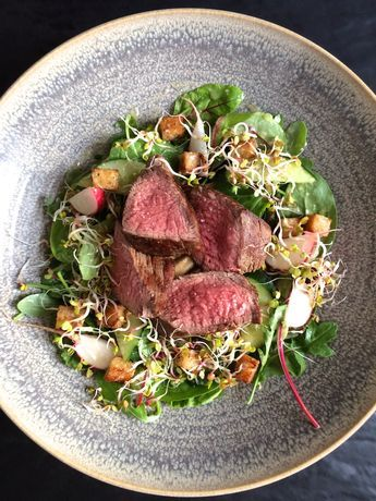 Matured beef teres major, mixed salad with croutons and radish sprouts