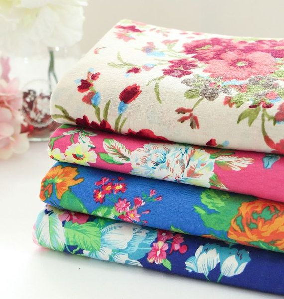 Flower Pattern Stretch Cotton Knit Fabric AW43  4 by luckyshop0228, $10.20