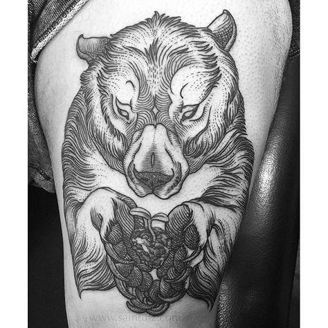 Grizzly Bear Tattoo by Sam Rulz IllustrativeTattoos Illustrative Etching Illustration Blackwork SamRulz grizzly bear grizzlybear