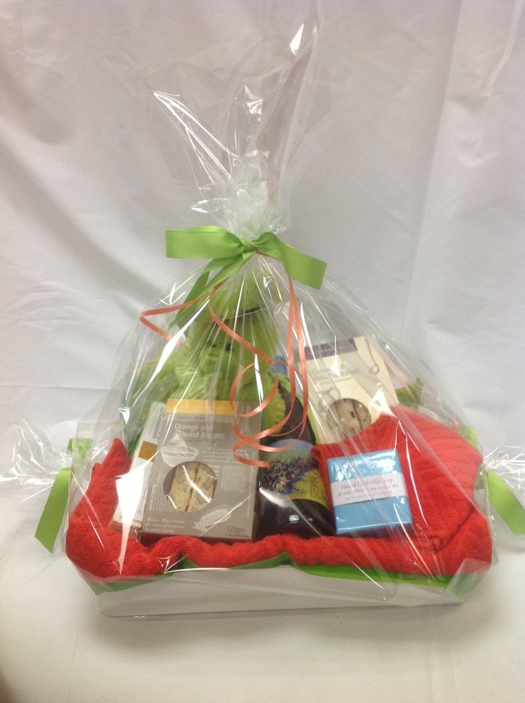 """$85.00Au - Baby Boy """"White Shirt Box"""" with Mr. Green Rabbitface washer, hand towell and Baby soap. Plus Biscotti Biscuits, nougat and a bottle of Red Wine for Dad.   *Delivery is Not Included in Prices shown."""