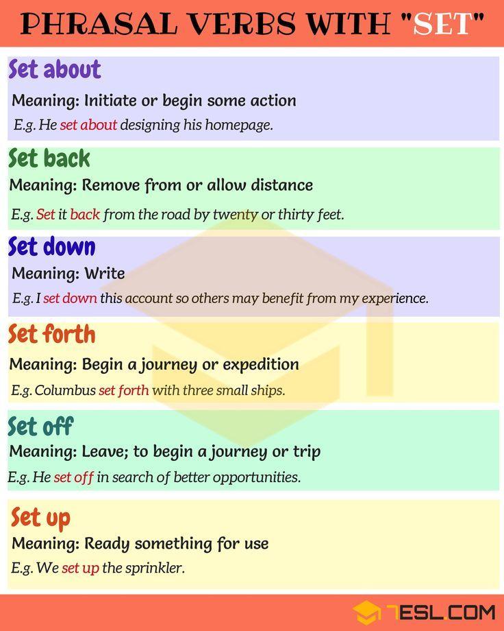 Phrasal Verbs With Set Set Back Set Off Set Out Set Up