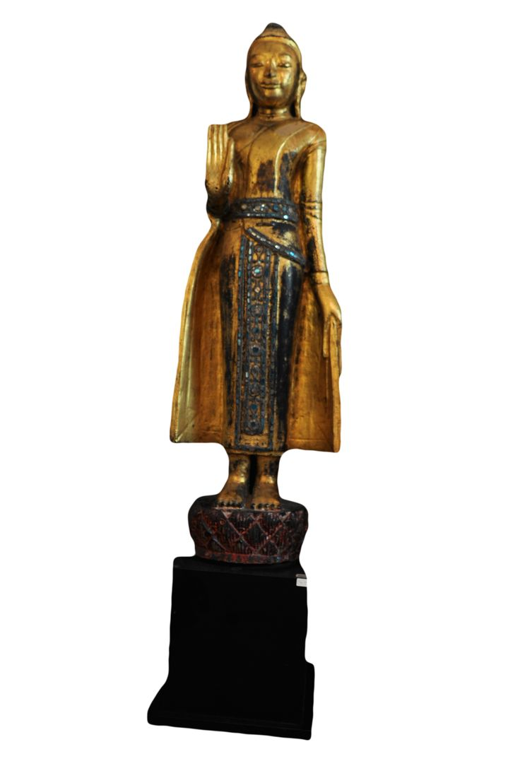 Wooden standing Buddha. Myanmar (Shan at north eastern of Burma), 18th century, made of wood, gold leaf and coloured glass. For more information about this and other amazing Asian/Buddhist antique products, please visit our website: www.sat-nam-art.com