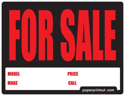 Car For Sale Sign PDF Car For Sale Sign 4 Runner 2009 Toyota - free for sale signs for cars