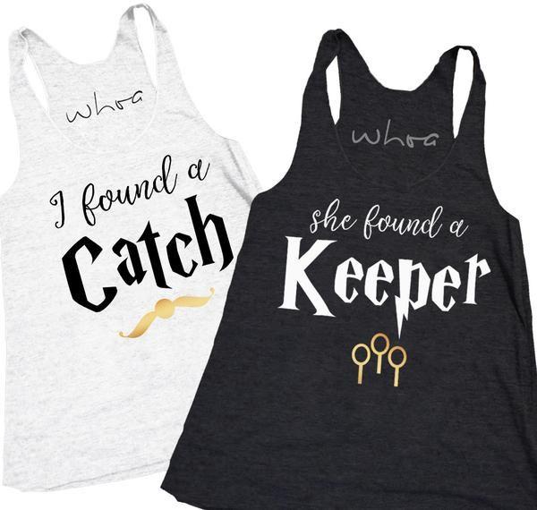 "Harry Potter ""I Found a Catch"" / ""She Found a Keeper"" Bachelorette Tank. XS-2XL, Bachelorette Tank, Bachelorette Party."