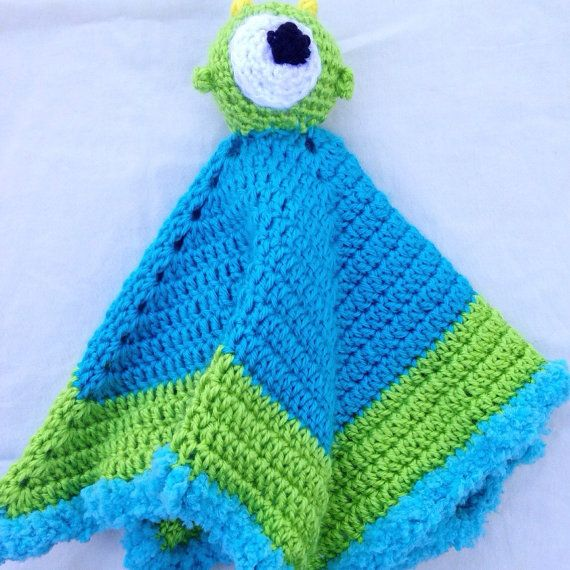 Crochet Monsters Inc. Baby Security Blanket  by lydiaegallagher