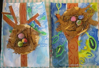 1st gr lesson with collage, paint, model magic, items from nature.  Color, collage, and much more