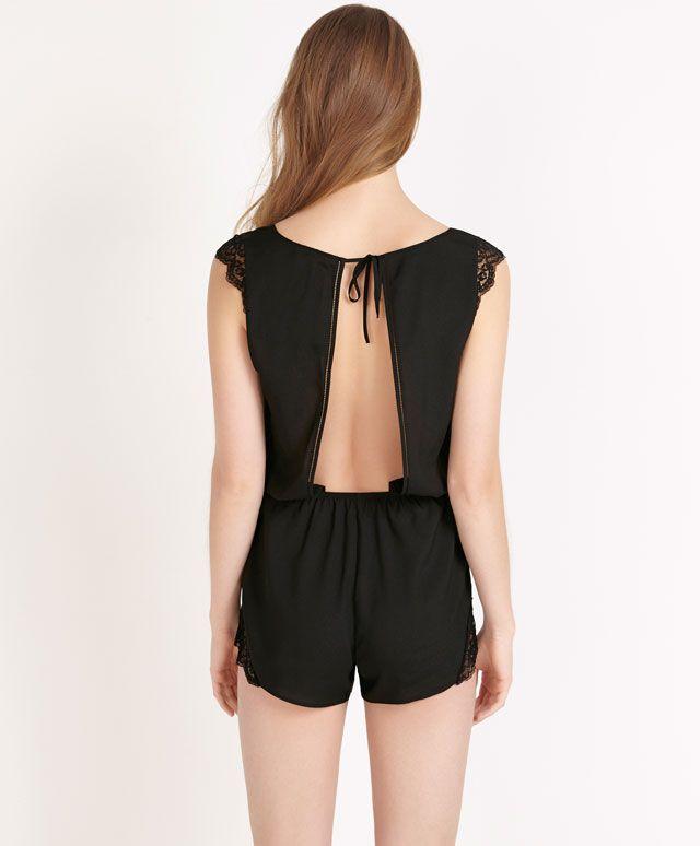 Black lingerie jumpsuit with lace trim - OYSHO