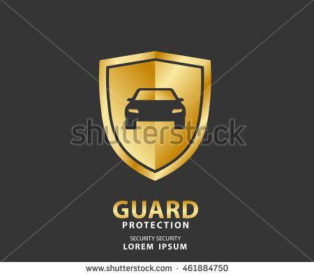 vehicle icon luxury shield, auto car gold guard insurance logo vector illustration