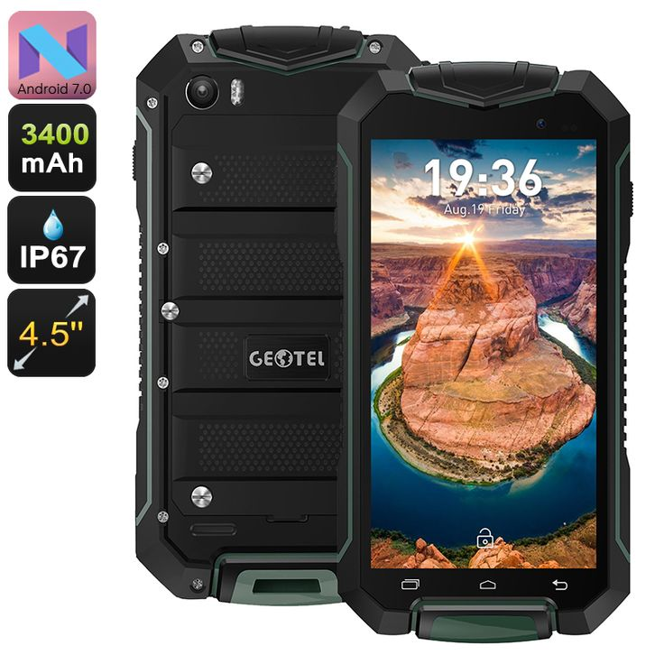 Geotel A1 Rugged Smartphone - Android 7.0, Quad-Core CPU, 8MP Camera, Dual-IMEI, IP67, 4.5-Inch Display, 3400mAh (Green) - The Geotel A1 rugged smartphone features an IP67 design and Android 7.0 operating system, allowing you to enjoy the latest mobile features wherever you are.