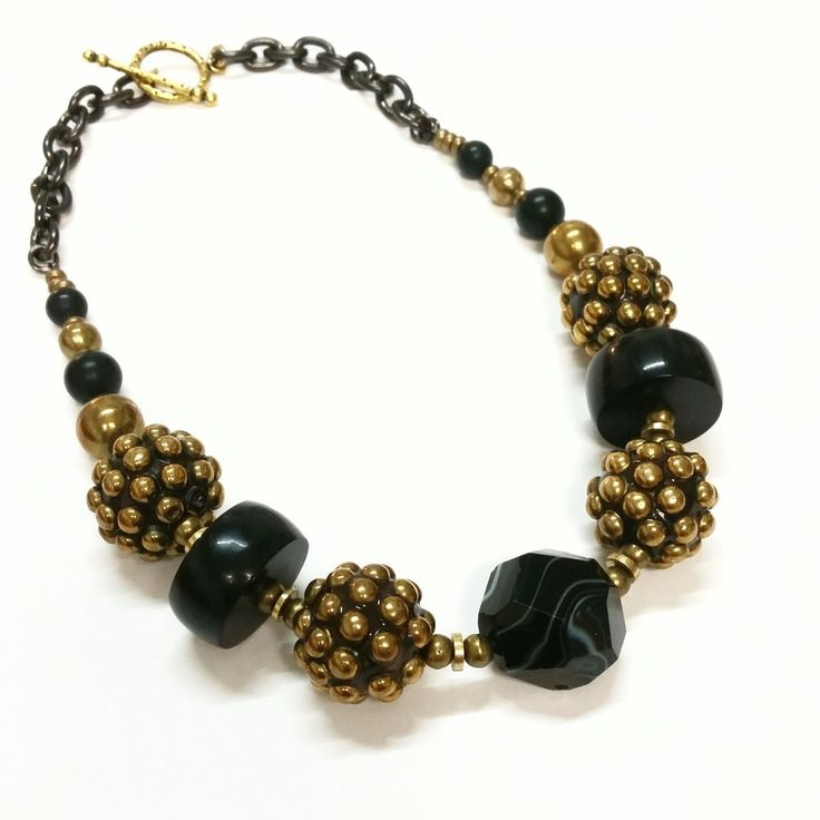 Image of Black N' Brass Statement Necklace One of a Kind