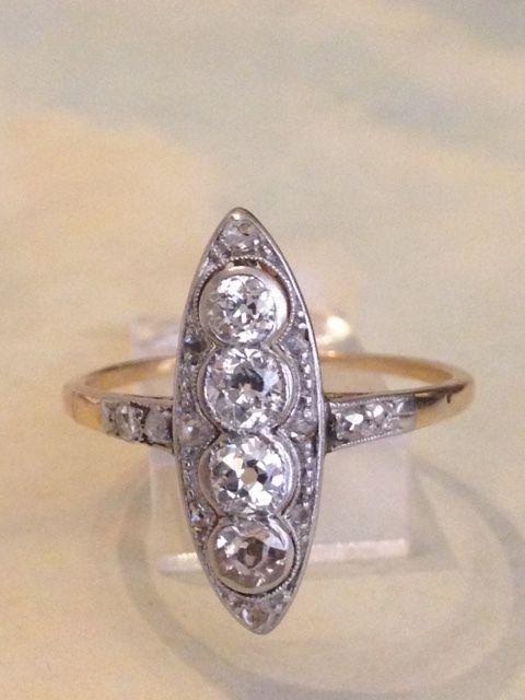 Online veilinghuis Catawiki: Platina en 18kt geelgouden Belle Epoque damesring met oude Europese geslepen diamanten, ca 1.24 ct