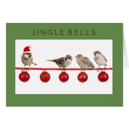 Jingle Bells sparrows merrily dancing card - beautiful gift idea present diy cyo