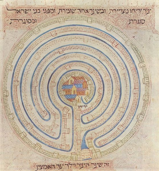 Map of Jericho in the 14th century Farhi Bible by Elisha ben Avraham Crescas.