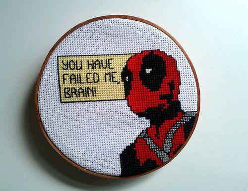 Deadpool you have failed me brain cross stitch