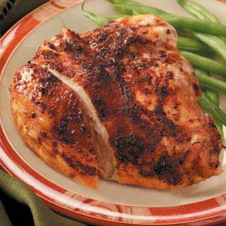 Herbed Slow Cooker Chicken Recipe Main Dishes with olive oil, paprika, garlic powder, seasoning salt, dried thyme, dried basil, pepper, sauce, bone-in chicken breast halves, chicken broth