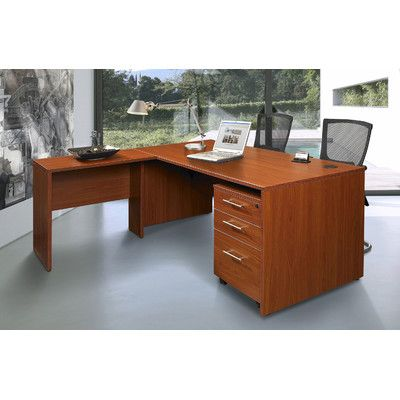 Jesper Office Pro X - L-Shaped Executive Desk with Mobile Pedestal & Reviews | Wayfair
