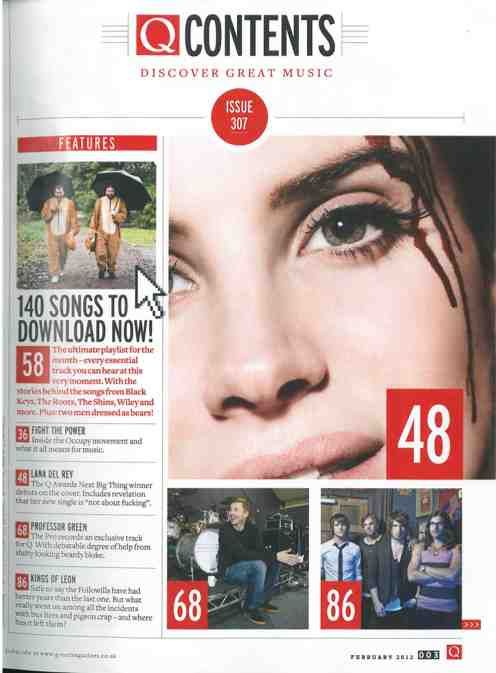 Image result for q magazine contents page
