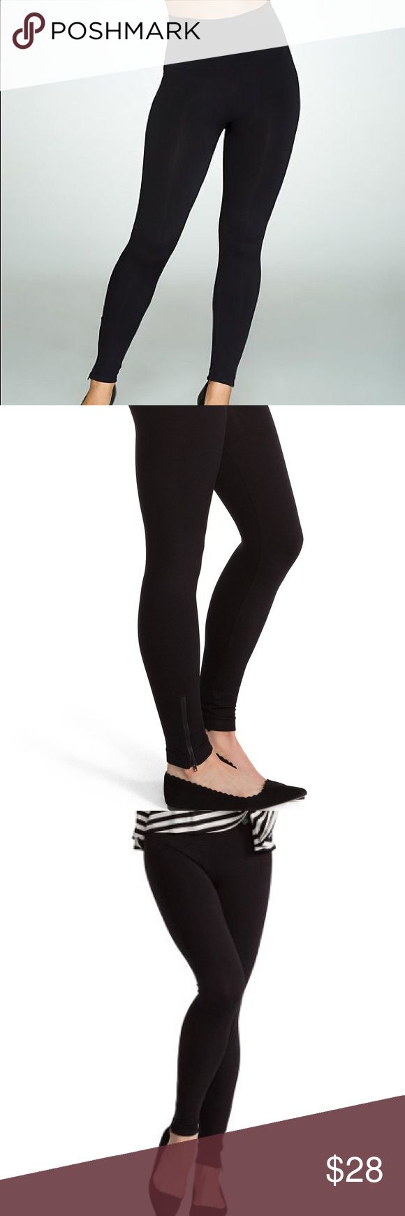 SPANX Seamless leggings Hardware: zipper detail at the ankle Features: full coverage waistband, seamless design Rise: at the waist Leg Shape: legging Fit: fitted; cut to follow the lines of the body SPANX Pants Leggings
