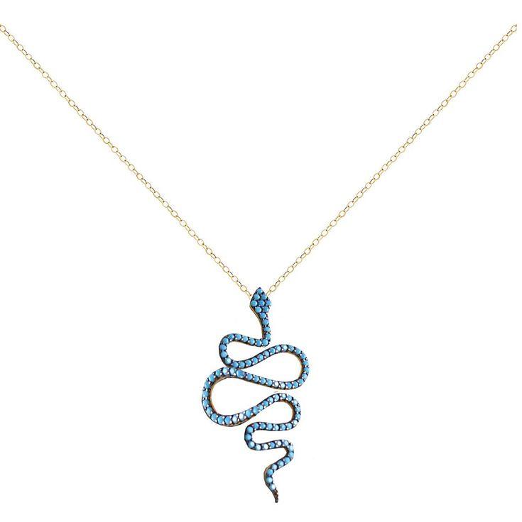 Π224P- Χρυσό κολιέ φίδι με τιρκουάζ πέτρες