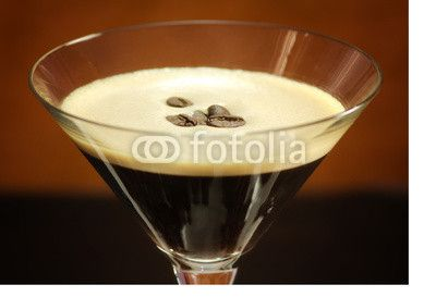 blended coffee glass with decorative coffee beans inside
