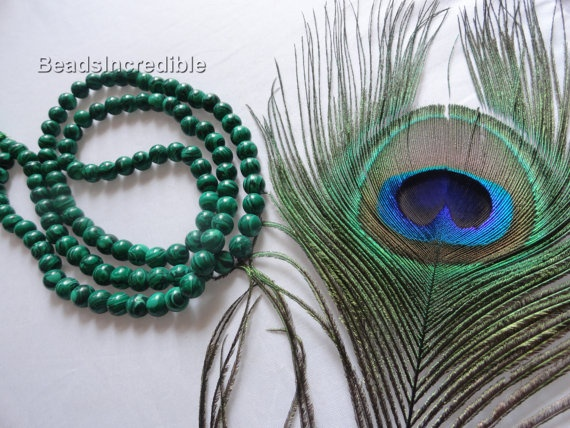 Genuine Malachite Necklace 8MM 108 Fine by beadsincredible on Etsy, $24.95