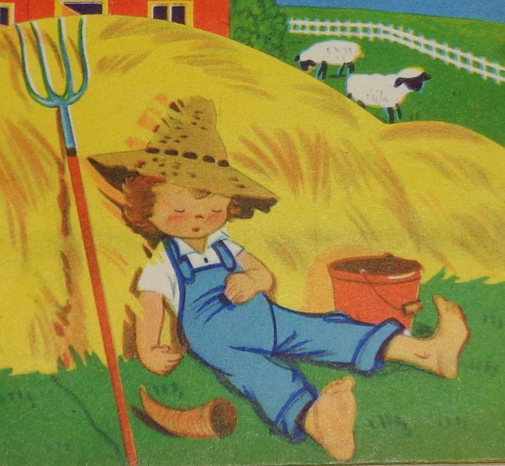 "Vintage greeting card, sleeping farm boy in the hay, Wishing Well 5"" used"