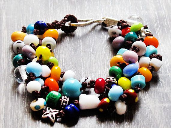 Colorful Lampwork Bracelet Hand Knotted by GlassHouseLampwork