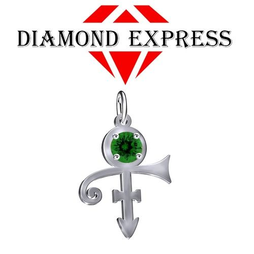 1 Ct Green Emerald Round PRINCE Singer Artist Peace Symbol UNISEX Pendant - Death Anniversary 21st April. Starting at $1
