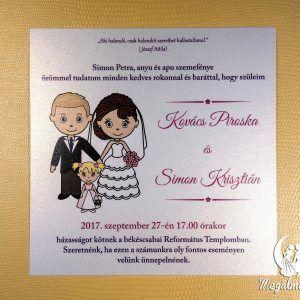 Nyomtatott esküvői meghívó 66. #esküvői #meghívó #nyomtatott #esküvőimeghívó #egyedi #kislány #wedding #weddinginvitation #bride #groom #babygirl