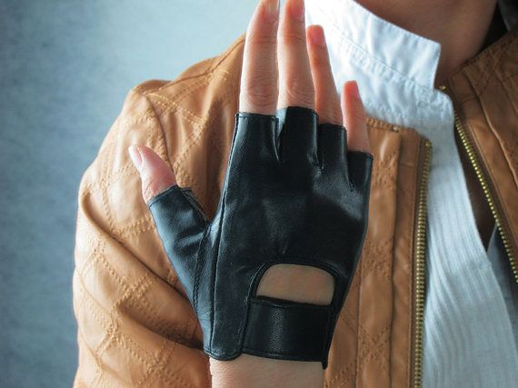*.* Real Leather Fingerless Short Gloves - Black Lambskin Unlined Bicycle Driving Gloves - Sheepskin - Women - Handmade - etsy