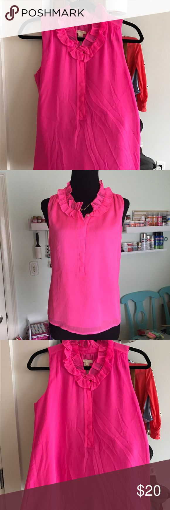 J.Crew Hot Pink Blouse - Size 4 J.Crew Hot Pink Sleeveless Blouse - Size 4. Worn once then dry cleaned. Just a little wrinkly! Please let me know if you have any questions at all! J. Crew Tops Blouses