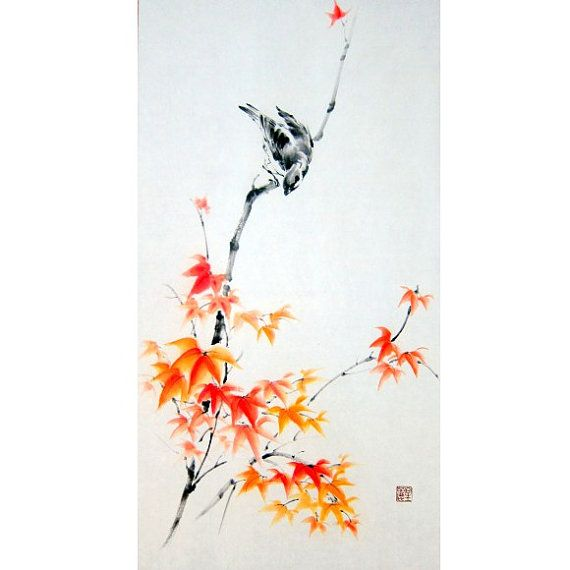 Japanese Ink Painting,Suibokuga,Sumi-e, Flower and Birds painting,Asian painting, Rice paper, Orange, Red    Sparrow on Maple branch painted with Sumi