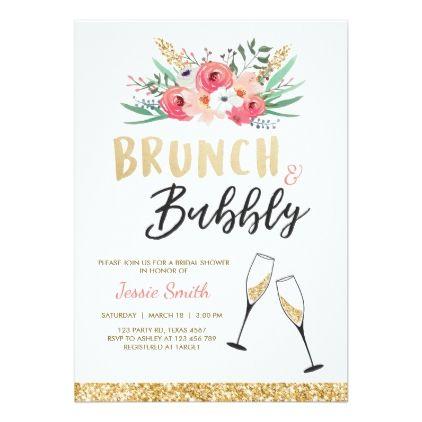 69d93416f96c Brunch   Bubbly Bridal shower invitation Pink Gold - invitations custom  unique diy personalize occasions
