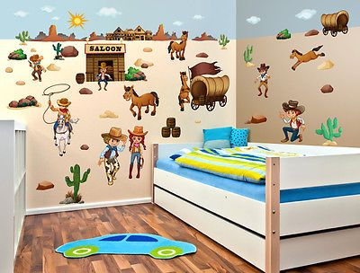 Simple Wandsticker Kinderzimmer Cowboys Kinder Sticker Wilder Westen Wanddeko