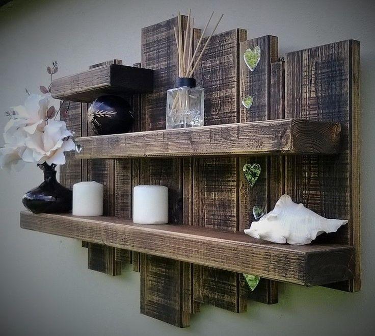 floating wall shelf mirror art display storage unit shabby chic wood rustic oak