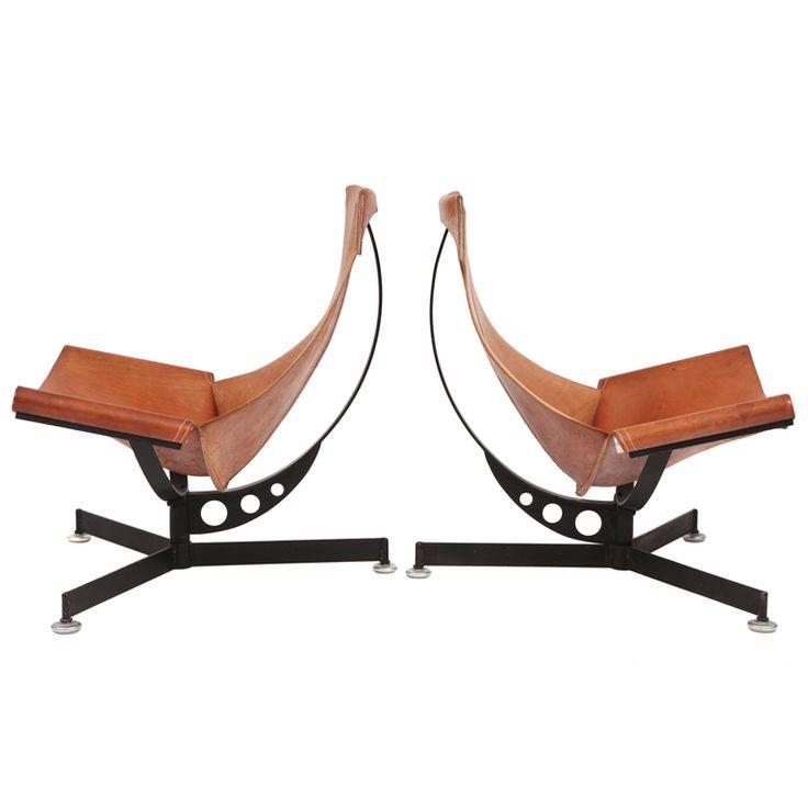 Max Gottschalk Leather U0026 Iron Sling Chairs Part 83