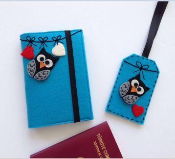 Baykuş Figürlü Pasaport Kılıfı ve Valiz Etiketi Seti