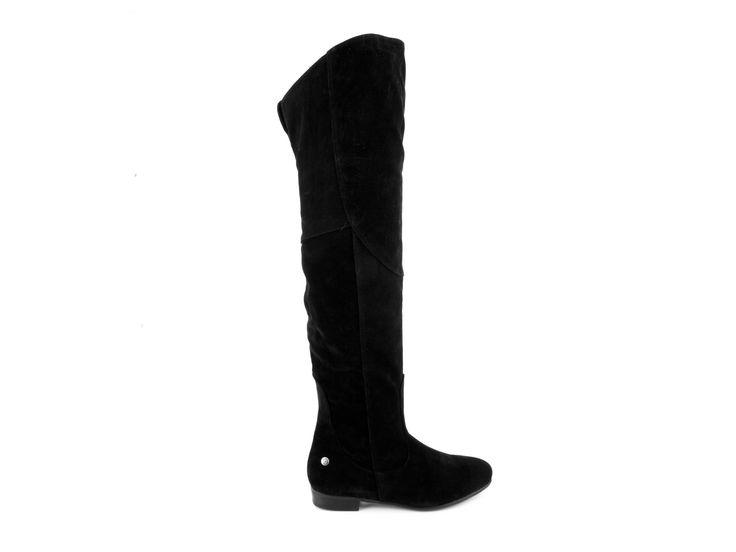 Blink - Semišové kozačky nad kolena na nízkém podpatku 102046-A / černá