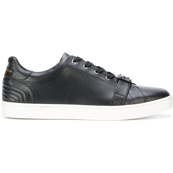 Dolce & Gabbana Leather Sneaker ($720) ❤ liked on Polyvore featuring men's fashion, men's shoes, men's sneakers, black, dolce gabbana mens shoes, mens round toe shoes, mens leather shoes, mens black leather sneakers and mens sports shoes