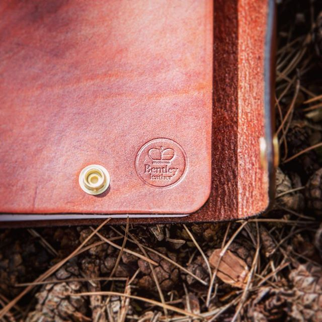 A beautifully handmade leather journal, long stitch with press stud closure www.bentleyleathercraft.com