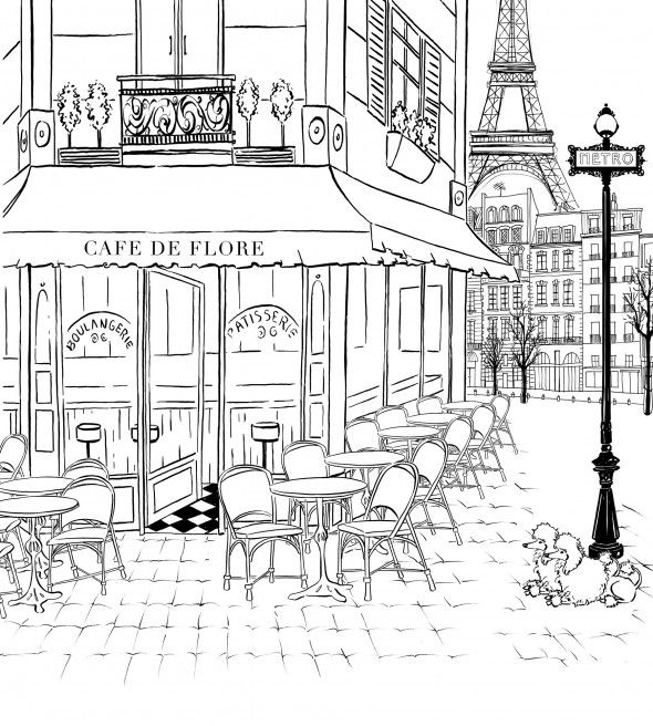 Best 25 paris illustration ideas on pinterest paris Coloring book cafe