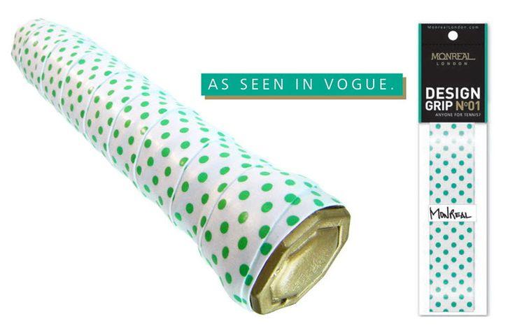 Slam Glam - Monreal London Green Polka Dot Designer Tennis Grips, $11.98 (http://www.slamglam.com/monreal-london-green-polka-dot-designer-tennis-grips/) Fabulous and fun!  Shop the collection oat Slam Glam! #monrealtennisgrips #tennisgrips