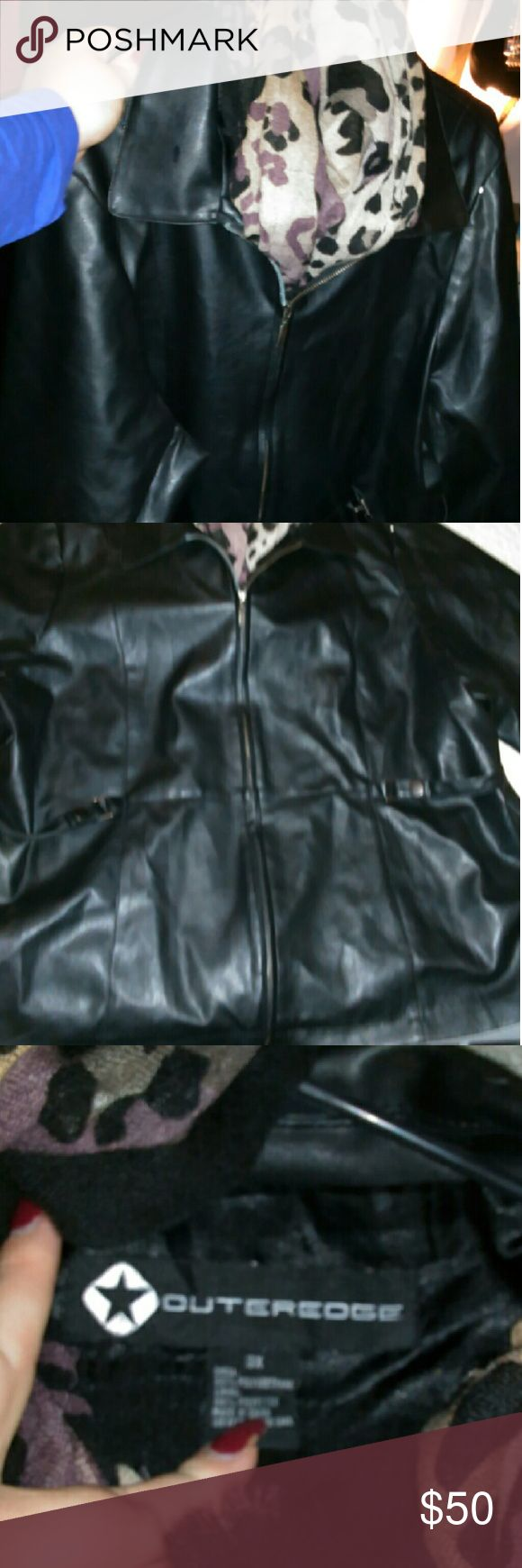 Outeredge womens leather plus size coat Nice leather coat size 3? I will also throw in the scarf if interested outeredge Jackets & Coats