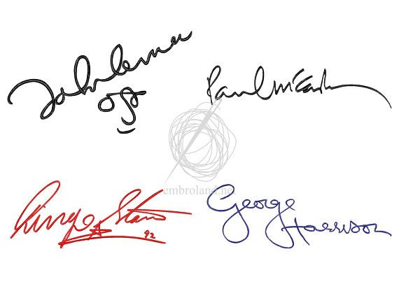 The Beatles signature autograph Set Machine Embroidery