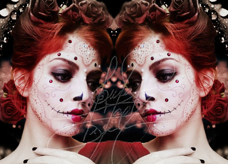 Sugar Skull Queen of Hearts Makeup, Hair, Picture, Edition by me