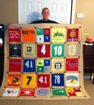 T Shirt Quilts: High School T Shirt Quilt by Julie